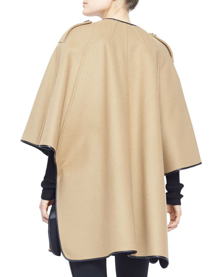 Leather-Trim Cape Coat