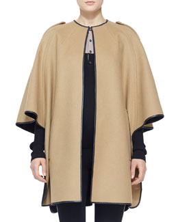 Burberry London Leather-Trim Cape Coat