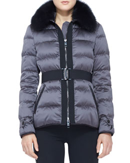 Burberry London Belted Fur-Collar Puffer Jacket
