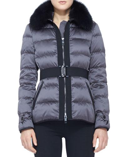 Burberry London Belted Fur-Collar Puffer Jacket