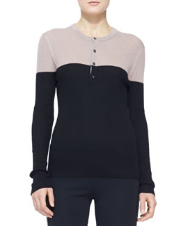 Burberry London Colorblock Cashmere Henley Top