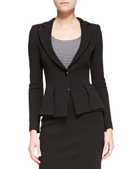 Crepe-Jersey Fitted One-Button Jacket