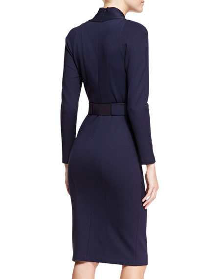 Milano-Jersey Surplice-Neck Dress