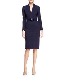 Armani Collezioni Milano-Jersey Surplice-Neck Dress
