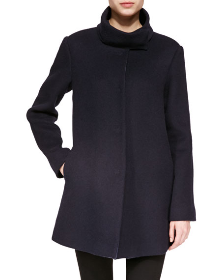 Stand-Collar Wide-Belt Caban Coat