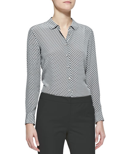 Armani Collezioni Long-Sleeve Button-Front Geometric Silk Blouse