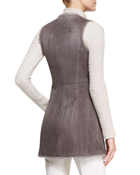 Zip-Front Shearling Long Vest