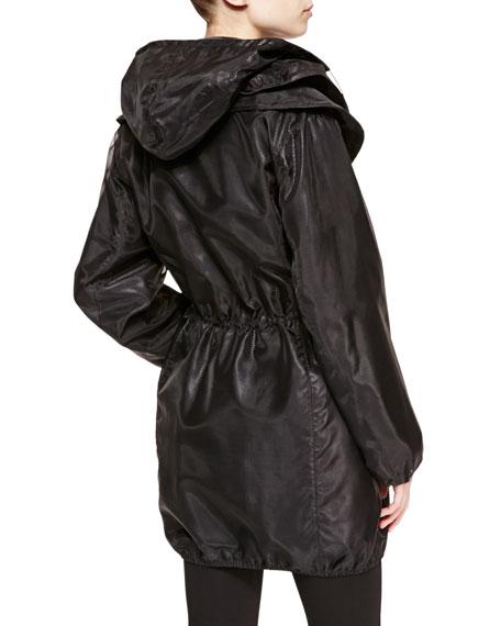 Printed-Nylon Overlay Trench Coat