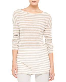 Akris punto Striped Mesh Tunic, Cream/Pebble