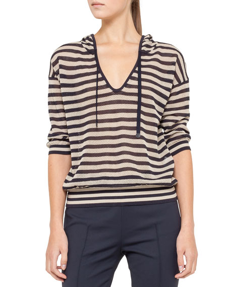 Striped Mesh Hoodie, Navy/Cream