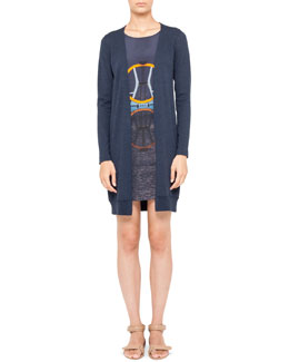 Akris punto Diving Board-Print Dress with Faux Cardigan, Denim Blue