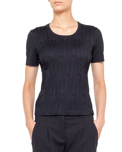 Akris punto Plisse Sleeveless Tee, Navy