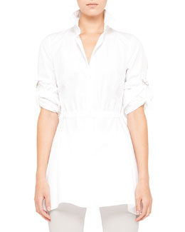 Akris punto Cotton Blouse with Drawstring Waist, White