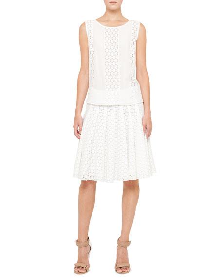 Pleated Lace Skirt, Cream