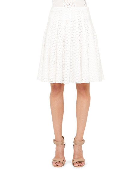 Pleated Lace Skirt, Cream