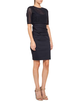 Akris punto Mesh Bolero Dress with Cummerbund, Navy