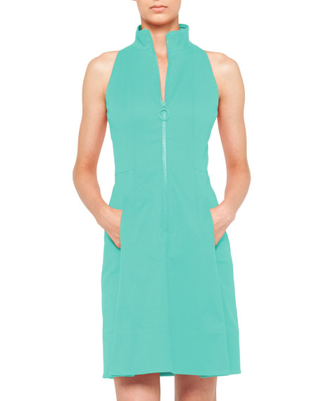 Zip-Front Pool Dress with Mock Neckline