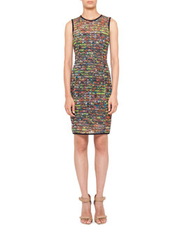 Akris punto Stadium-Print Mesh Dress, Multicolor