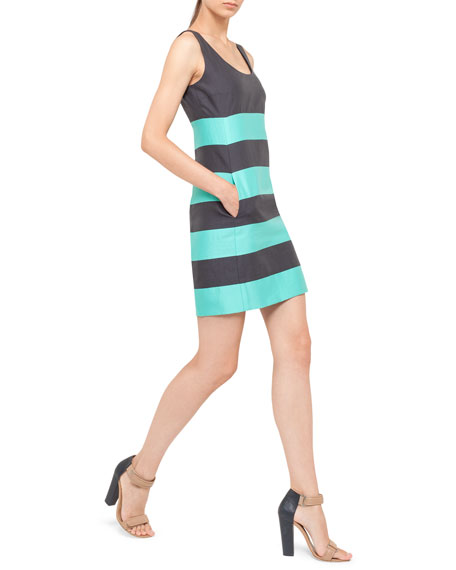 Relaxed Striped Dress, Navy/Pool