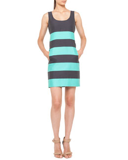 Akris punto Relaxed Striped Dress, Navy/Pool