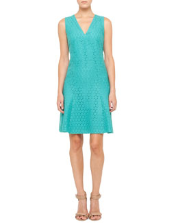 Akris punto V-Neck Lace Dress, Pool