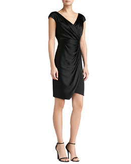 St. John Collection Faux-Wrap Crepe Drape Dress, Caviar