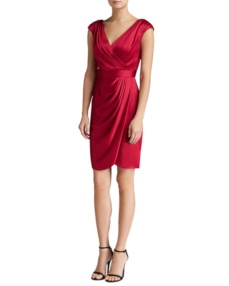 Liquid Crepe Draped Dress with Faux-Wrap Skirt