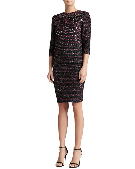 Multi Texture Knit Pencil Skirt