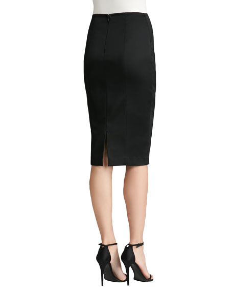 Structured Stretch Satin Pencil Skirt