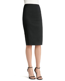 St. John Collection Stretch Satin Pencil Skirt, Caviar