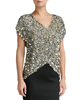 St. John Collection Sequined V-Neck Top, Gold/Silver