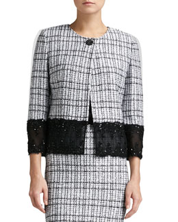 St. John Collection Mini Plaid Knit Jacket, Caviar/Bright White