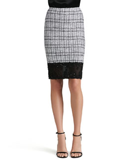 St. John Collection Mini Plaid Knit Pencil Skirt, Caviar/Bright White