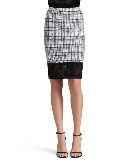 Mini Paillette Plaid Knit Pencil Skirt with Beaded Lace Trim
