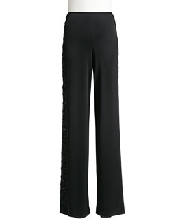 St. John Collection Satin Wide-Leg Pants with Beads, Caviar