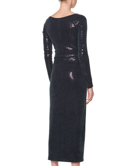 Giorgio Armani Long-Sleeve Sequined Midi Dress, Medium Green