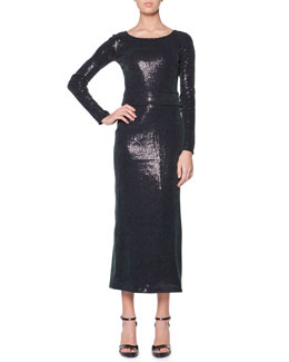 Giorgio Armani Long-Sleeve Sequined Midi Dress, Medium Green