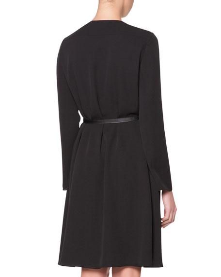 Leather-Neck Long-Sleeve Dress, Black