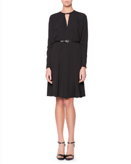 Giorgio Armani Leather-Neck Long-Sleeve Dress, Black
