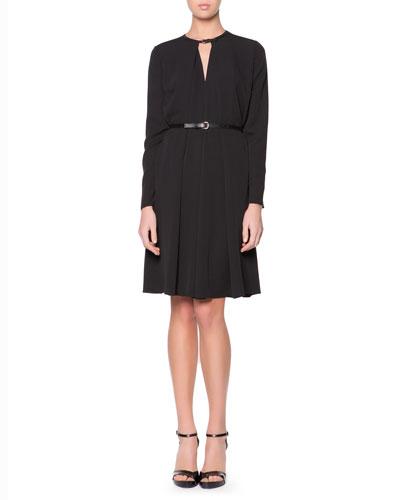 Giorgio Armani Leather-Neck Long-Sleeve Dress, Black