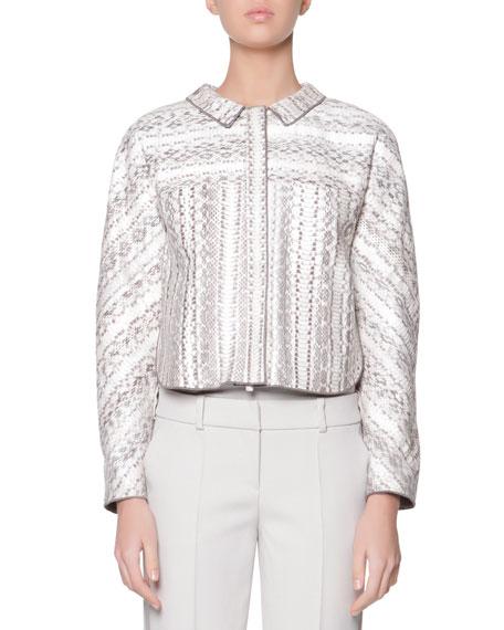 Giorgio Armani Snakeskin & Bonded Jersey Jacket
