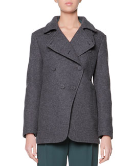 Giorgio Armani Asymmetric 4-Button Pea Coat, Charcoal