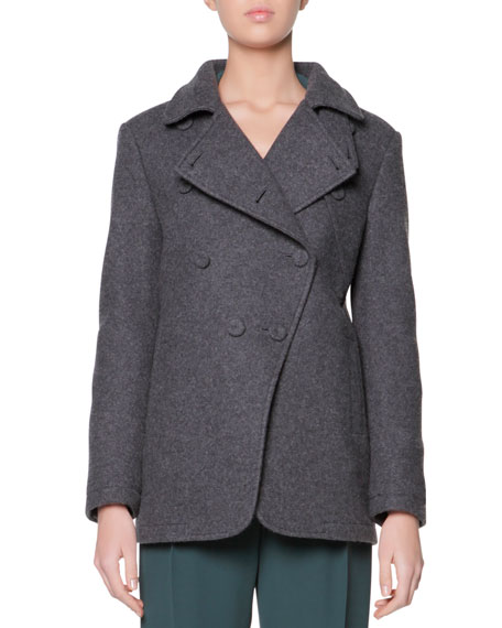 Asymmetric 4-Button Pea Coat, Charcoal