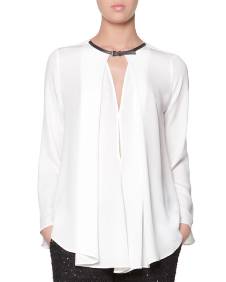 Leather-Buckled Silk Blouse, White