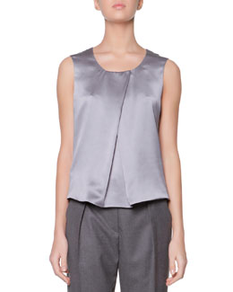 Giorgio Armani Scoop-Neck Silk Charmeuse Tank, Steel