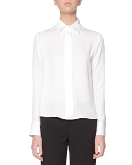 Giorgio Armani Long-Sleeve Covered-Button Silk Satin Blouse, White