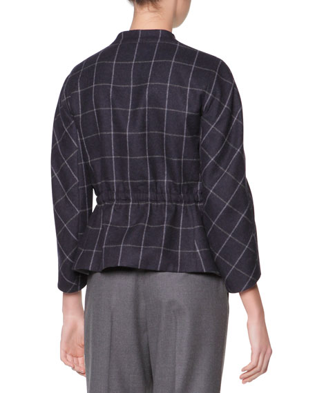 Raglan-Sleeve Windowpane Check Jacket, Navy