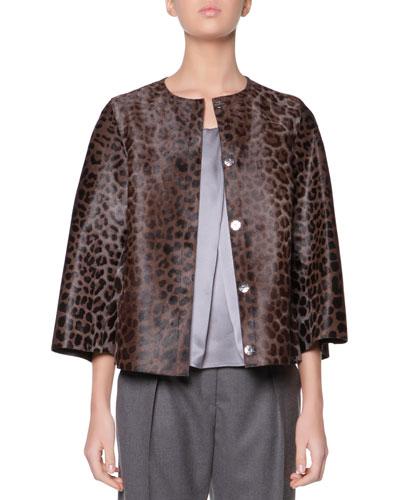 Giorgio Armani Cropped Leopard-Print Calf Hair Jacket