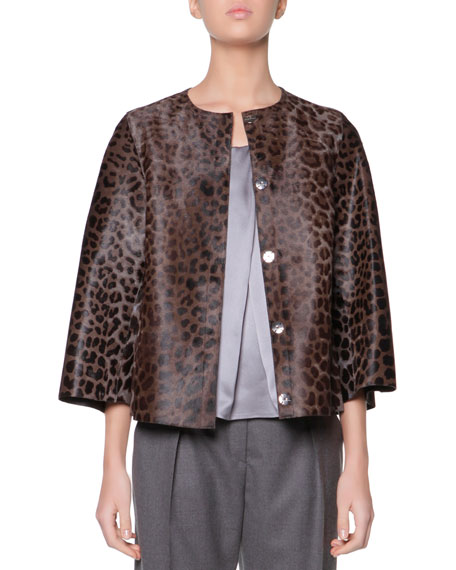 Cropped Leopard-Print Calf Hair Jacket