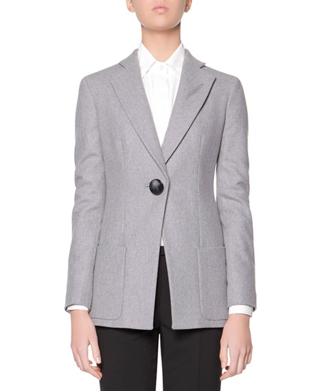 Wool Flannel One-Button Jacket, Gray